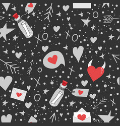 seamless patern valentine day hearts arrows vector image
