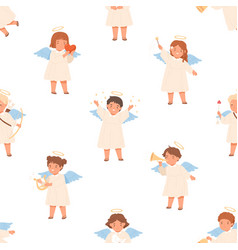 Seamless pattern with cute angels on white vector