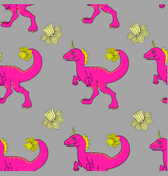 Seamless pattern with pink dinosaurs vector
