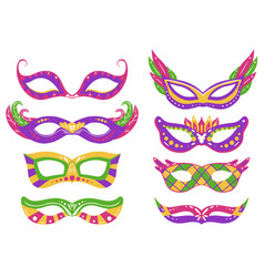 set mardi gras carnival masks with various vector image