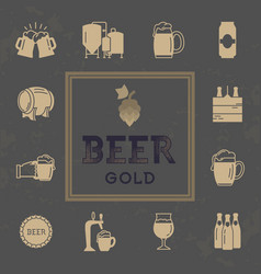 set of beer icons in retro style logo for pub vector image