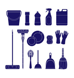 set of cleaning icons isolat vector image