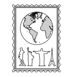 silhouette frame with world map and set of the vector image