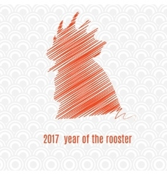 Silhouette of rooster made by lines vector