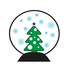 snowball with new year tree vector image