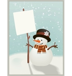 Snowman holds up the message vector image