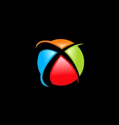 Sphere colorful letter X logo vector