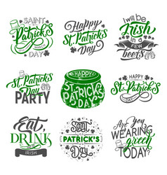 St patrick badge with irish holiday green clover vector