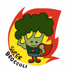 super broccoli hero on fire cartoon logo vector image