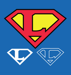 Superhero logo icon with letter l ou vector