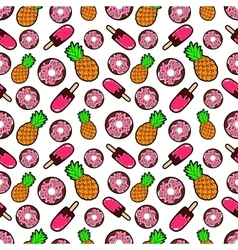 Sweets Food Seamless Pattern with Donuts vector image