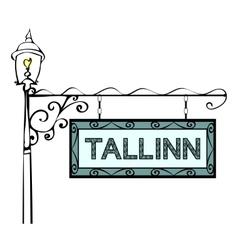 Tallinn retro vintage pointer lamppost vector