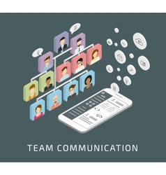 Team communication via smartphone app vector image