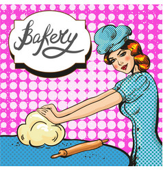 woman kneading pastry pop vector image