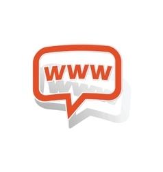 WWW message sticker orange vector