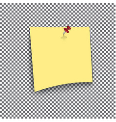 Yellow sticky note isolated on transparent vector