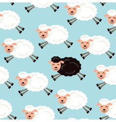 Black sheep in a flock vector image vector image
