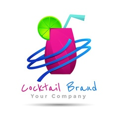 Cocktail summer party design logo Template for vector image
