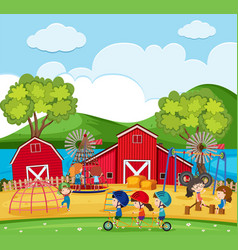happy children playing in the playground with vector image vector image