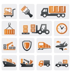 Logistic and shipping icon set vector image
