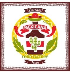 Mexican food tacos and burritos menu poster vector image vector image