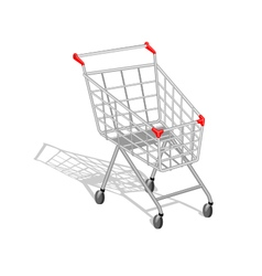 Realistic empty shopping cart with shadow on white vector image