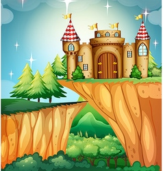 Scene with castle on the cliff vector image vector image