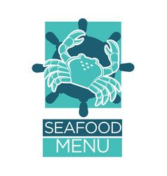 seafood menu of lobster crab on ship helm vector image vector image