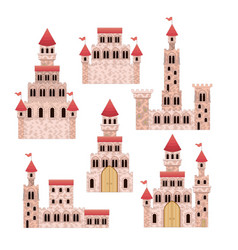 set of pink castles of fairy tales in white vector image