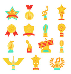 trophy awards icons set flat vector image