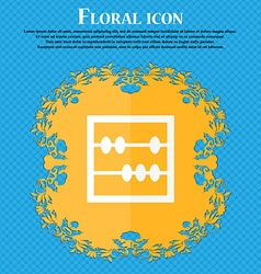 Abacus icon Floral flat design on a blue abstract vector image