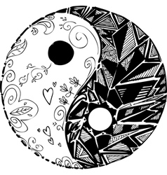 Black and white tao symbol vector