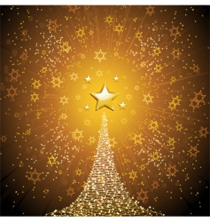 Christmas tree and gold star vector image vector image