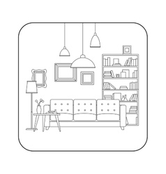 Living room line interior vector image vector image