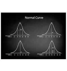 Normal Distribution Diagram on Green Chalkboard vector image