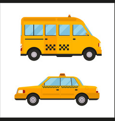 yellow taxi bus isolated car vector image