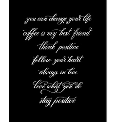 black and white handwritten positive quote set vector image
