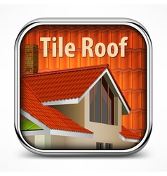 Icon with red tile roof vector image vector image