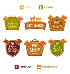 Set of logo on heraldic shield for pet shop vector image