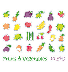 stickers with images of stylized fruit and vector image vector image