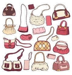 Womens handbags Hand drawn Set vector image vector image