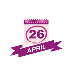 26 april calendar with ribbon vector
