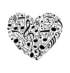 abstract heart musical notes vector image
