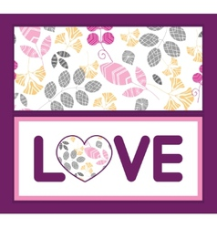 Abstract pink yellow and gray leaves love text vector