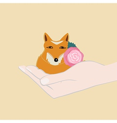 Adorable little fox with a pink flower vector