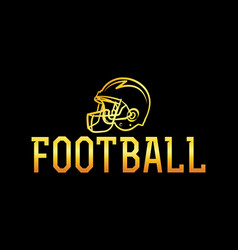 american football gold helmet vector image