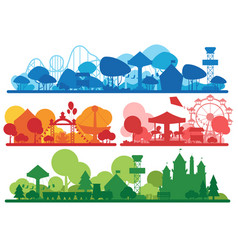 Amusement park colorful silhouette horizontal vector