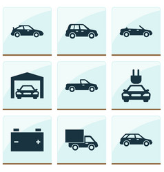Automobile icons set collection of carriage car vector