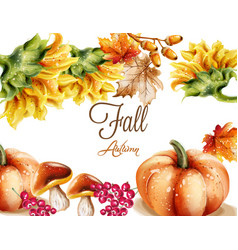 Autumn fall card watercolor pumpkin sunflower and vector