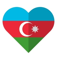 Azerbaijan flat heart flag vector image